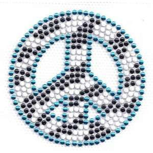 OF SAME FREE/Peace Sign  Turquoise,White & Black Studs, 2 1/4 Round