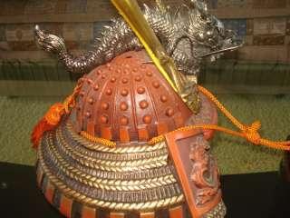 Japanese Dragon Warrior Helmet Kabuto Bronze Display
