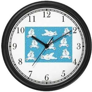 Polar Bear Mother & Baby Collage   JP Animal Wall Clock by