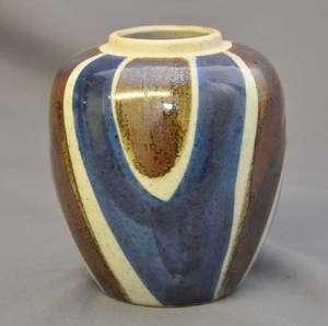 Seymour Mann Art Pottery Vase Blue & Copper w/label