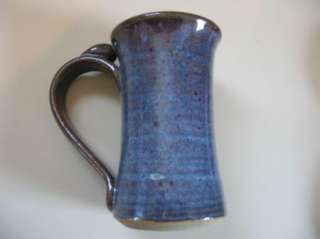 New handmade art pottery large blue coffee cups mugs