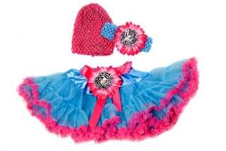 Set 4 TuTu flower skirt Crochet Beanie headband hair bow clips baby