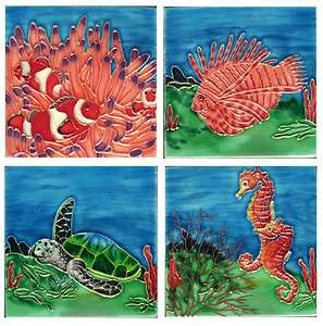 Crafted 4x4 Ceramic Wall/Table Top Art Tile Ocean Scenes 4 Designs USA