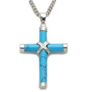 Large Sterling Silver Turquoise Cross Necklace Pendan