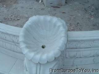 HAND CARVED MARBLE CHERUB LARGE GARDEN FOUNTAIN FNT16