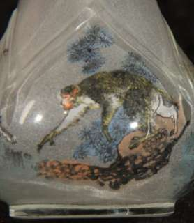 ANTIQUE CHINESE REVERSE PAINTED OLD PEKING GLASS SNUFF BOTTLE WOLF