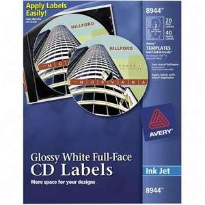 Avery Dennison 8944 Avery Cd Labels Glossy White Full Face Labels