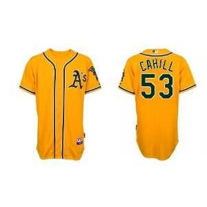 Oakland Athletics #53 Trevor Cahill Yellow Baseball Jerseys for Men