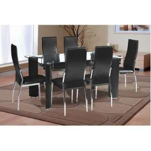 Ketch 7 Piece Dining Set with Black Faux Leather Chairs