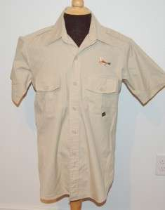 mens sz M HUNTING fly FISHING SHIRT s/s SAFARI TRAVEL NICE