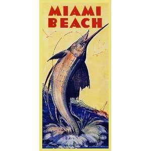 FISH FISHING MIAMI BEACH FLORIDA TRAVEL TOURISM VINTAGE