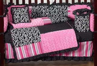 BOUTIQUE PINK AND BLACK BABY GIRLS 9PC CRIB BEDDING SET