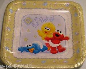 Baby SESAME STREET LARGE LUNCH PLATES ~ Shower Party Supplies Cookie