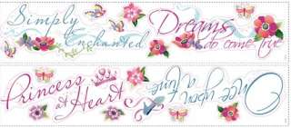 New DISNEY PRINCESS QUOTES WALL DECALS Princesses Stickers Girls Room