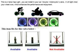 12x Bike Car Tyre Wheel Valve Caps LED Light Neon Lamp Blue Green