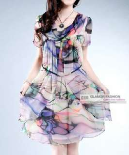 Printed Chiffon Dress Baggy Dress S/M/L #GF265B