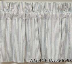BRIGHTON FRENCH COUNTRY BLUE TICKING STRIPE VALANCE