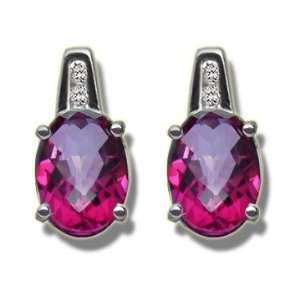 .03ct 7X5 Oval Classy Mystic Pink Topaz White Gold Earring