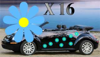 NEW 32,YELLOW DAISY FLOWER VINYL CAR DECALS,STICKERS