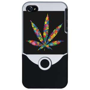 iPhone 4 or 4S Slider Case Silver Marijuana Flowers 60s