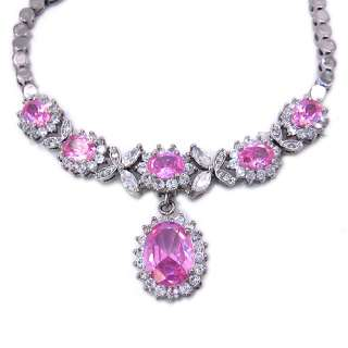 CHRISTMAS GIFT JEWELRY PINK SAPPHIRE WHITE GOLD GP FASHION PENDANT