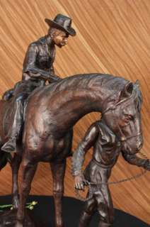 SIGNED OLD WEST COWBOY COWGIRL HORSE BRONZE SCULPTURE STATUE FIGURE