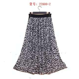 New pleated Leopard long chiffon skirt vintage maxi dress Y22800 gray