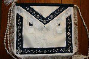 Past Master White Navy, wreath rope Masonic Apron Mason