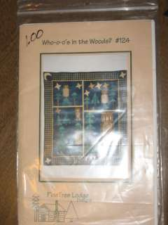 WHO O OS IN THE WOODS QUILT PATTERN BY PINE TREE LODGE