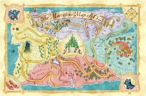 MOVIE POSTER ~ WIZARD OF OZ MARVELOUS MAP Emerald City