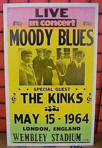 Moody Blues/Kinks in London 1964 Concert Poster