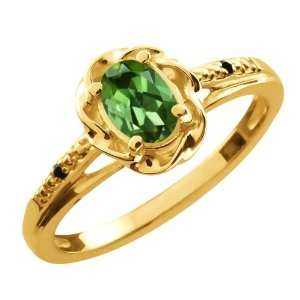 Oval Green Tourmaline Black Diamond Gold Plated Sterling Silver Ring