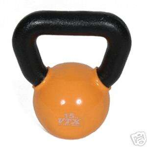 Vinyl Coated Cast Iron 15 lb. Kettlebell   New in Box!