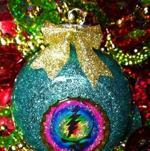 Grateful Dead Steal Your Face Glitter Glass Christmas Ornament Ooak