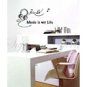 Music is my life   removable vinyl art wall decals murals home decor