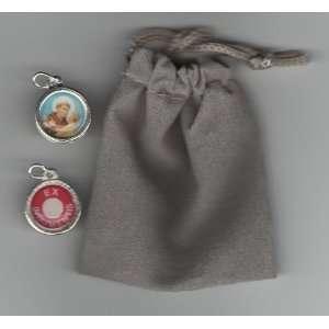 Saint Anthony Relic Medal, Holy Prayer Card and Velour Bag
