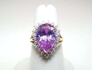 Ladys Pear Shape Lavander Cubic Zirconia Cluster Ring 14KYG