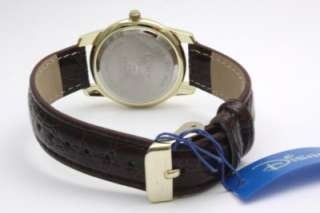 Mouse Collectible Gold Tone Brown Leather Band Watch MCK612