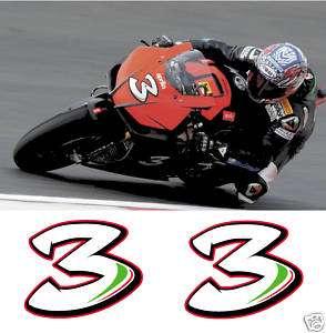 MAX BIAGGI NUMBER 3 MOTORCYCLE FAIRING DECALS FREE P&P