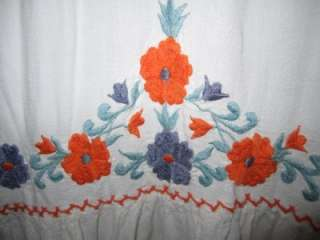 Vintage Embroidered Mexican Tent Hippie Boho Peasant Maxi Dress S