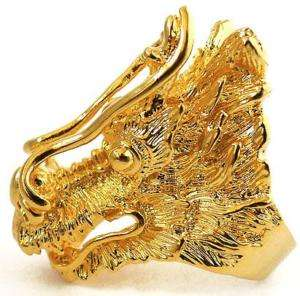BIG CHINESE LUCKY DRAGON AMULET GOLD MENS RING Sz 11