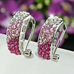 Gorgeous with Fuschia Pink & Clear Swarovski Crystals Huggie Hoop