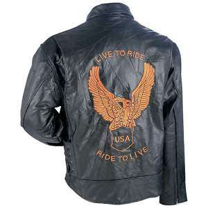 Bikers Motorcycle Leather Jacket Embroidered Eagle