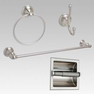 Brushed Nickel 24 Towel Bar Accessory 4 PC Set W/ Recessed T P Holder