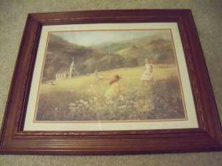 HOME INTERIOR/HOMCO WALL PICTURE DARK WOOD FRAME W/ CHILDREN IN A