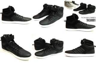 Mens High Top Sneakers Shoes Black Velcro Strap Homme Big Size US 7 8