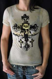 65 SINFUL SHIRT WITH SKULL CROSS BURN OUT TATTOO EMO RARE