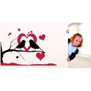 Removable Wall Decals  Birds on Branches with Heart