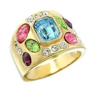 Womens Young Line Multicolor Swarovski Crystal Gold Tone