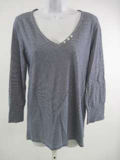 CREW Blue Striped Long Sleeve Shirt Top Sz L SP 08